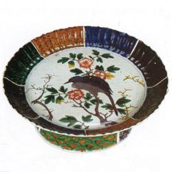 色絵花鳥図輪花台鉢