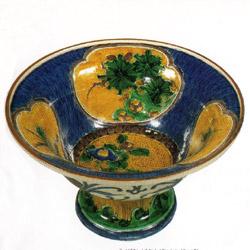 色絵椿松竹梅文台鉢