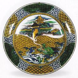 色絵龍宮図平鉢