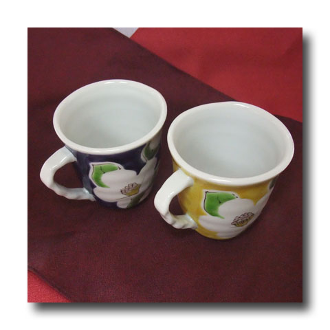 九谷焼 ペアマグカップ・色椿
