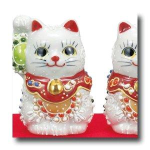 画像3: 九谷焼 2号ペア招き猫 白盛(化粧箱入)