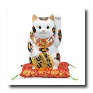 画像3: 九谷焼 8号小判招き猫 金三毛(紙箱入)