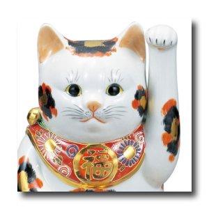 画像2: 九谷焼 8号小判招き猫 金三毛(紙箱入)