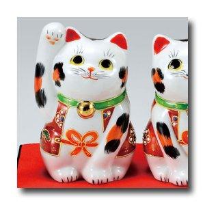 画像4: 九谷焼 3.5号ペア招き猫 盛(化粧箱入)