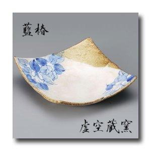 画像1: 九谷焼6.5号角盛皿 藍椿【虚空蔵窯】(化粧箱入)
