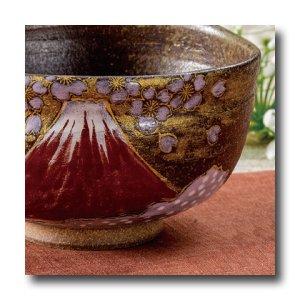 画像1: 九谷焼 抹茶碗 金雲桜富士(木箱入)