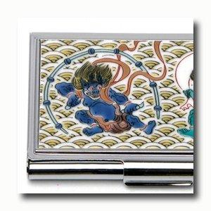 画像2: 九谷焼カードケース(名刺入れ) 風神雷神(化粧箱入)【青郊窯】