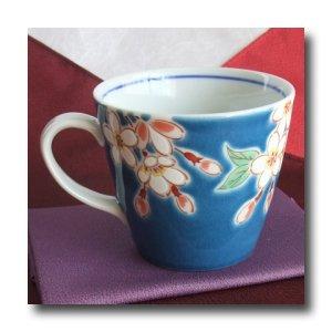 画像3: 九谷焼マグカップ 紺地桜(紙箱入)