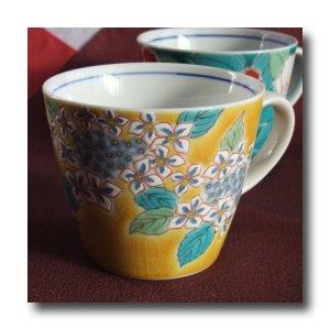 画像3: 九谷焼マグカップ 黄地紫陽花(紙箱入)