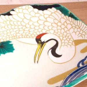 画像2: 九谷焼 盛皿 白鶴-White cranc-【青郊窯】(化粧箱入)