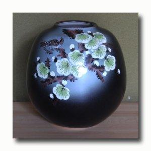画像2: 九谷焼7号花瓶  梅に鳥(木箱入)【特価品】<数量限定>