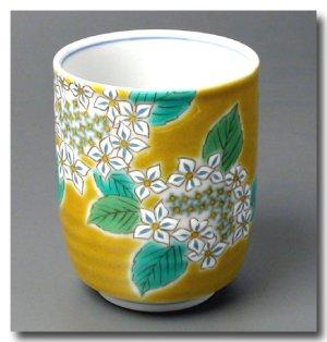 画像3: 九谷焼茶碗&湯呑 黄地紫陽花(紙箱入)