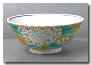 画像2: 九谷焼茶碗&湯呑 黄地紫陽花(紙箱入)