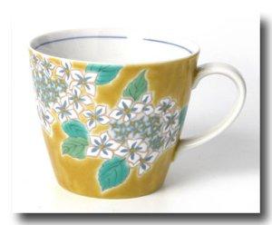画像2: 九谷焼マグカップ 黄地紫陽花(紙箱入)