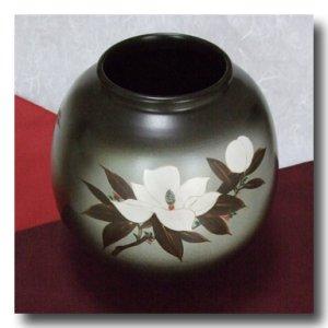 画像2: 九谷焼【山上義正】花瓶 灰釉泰山木(限定品・木箱入)