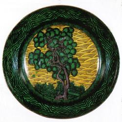 青手樹木図平鉢